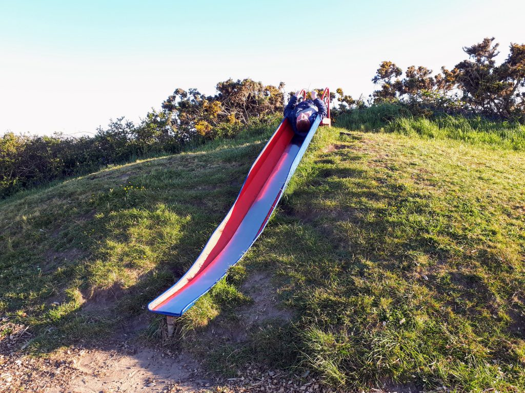 a picture showing the slide in the play area at Shoreside Caran and camping park