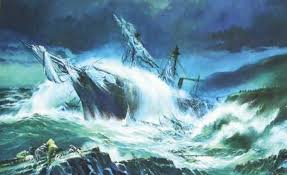 a dramatic painting of the royal charter, depicted during the great storm it was sank during, in 1859