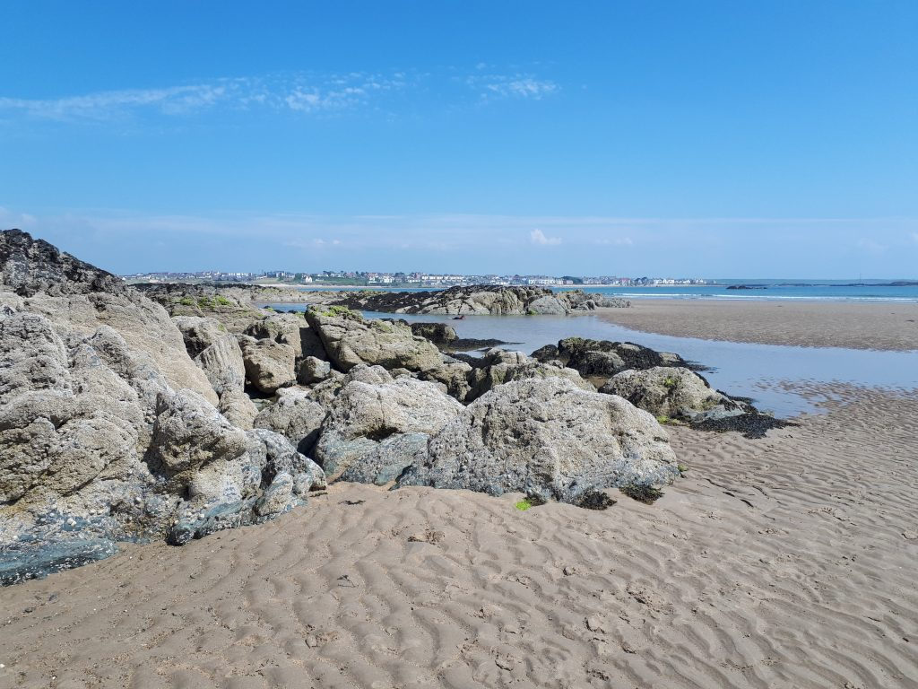 a picture of rockpools on Crigyll Beach to show where you can snorkel