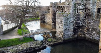 The image shows the entrance walkway in Beaumaris Castle