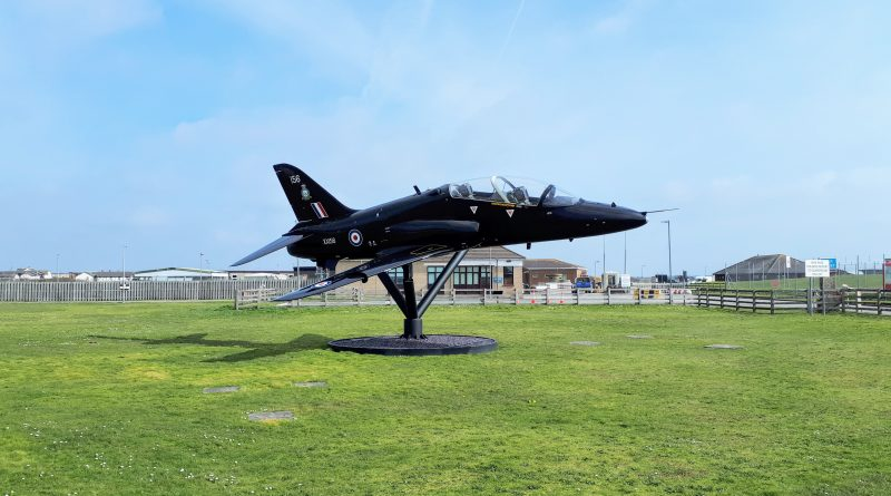 A picture of the Hawk jet at the entrance to RAF Valley
