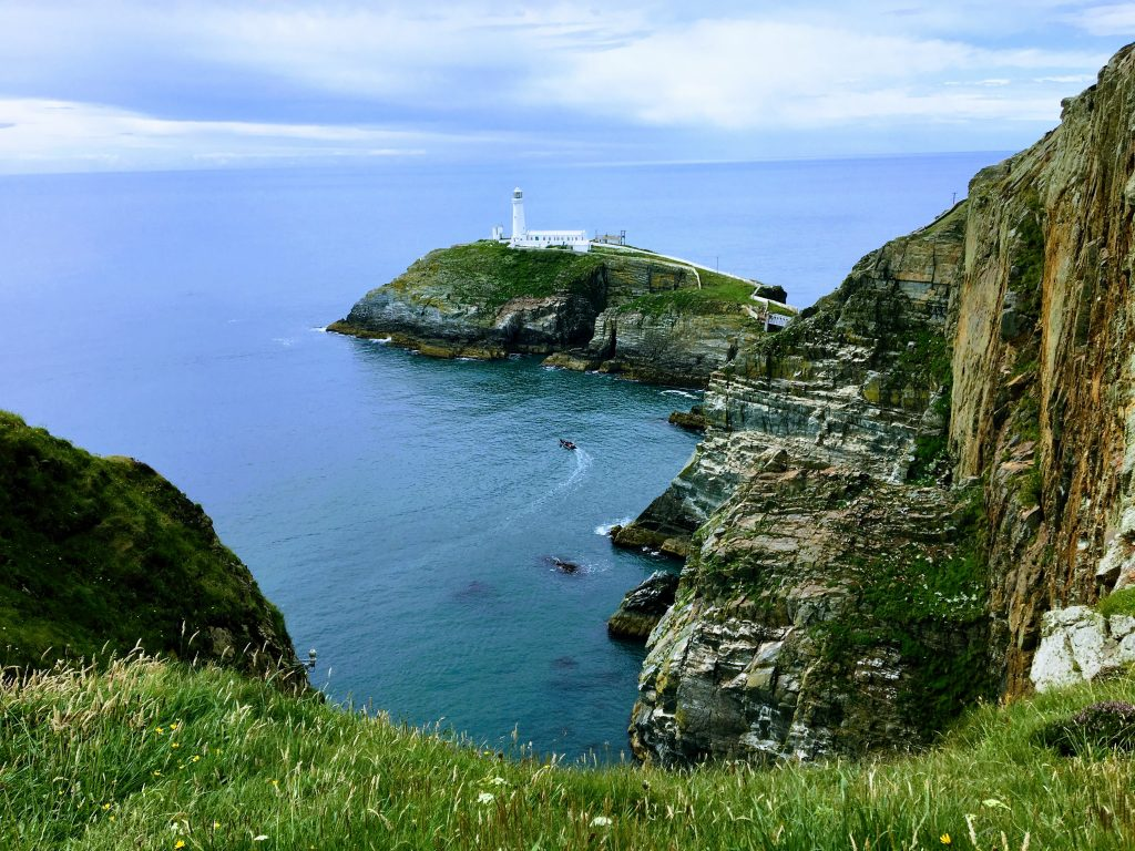 An image of South Stack lighthouse taking from the viewing point at south stack