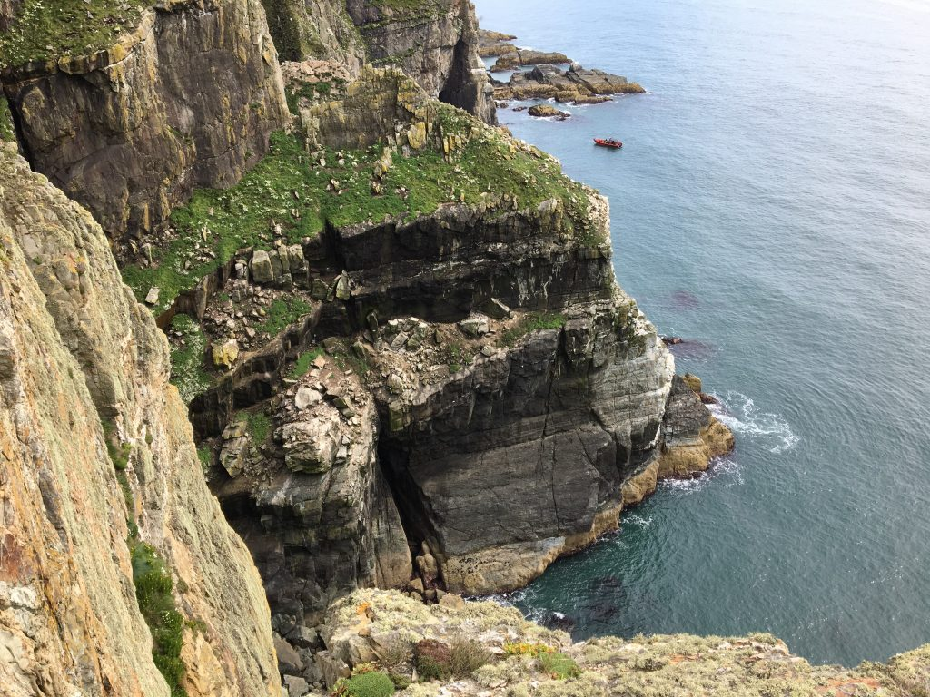The images shows the cliffs at south stack rspb, this is where the birds nest.