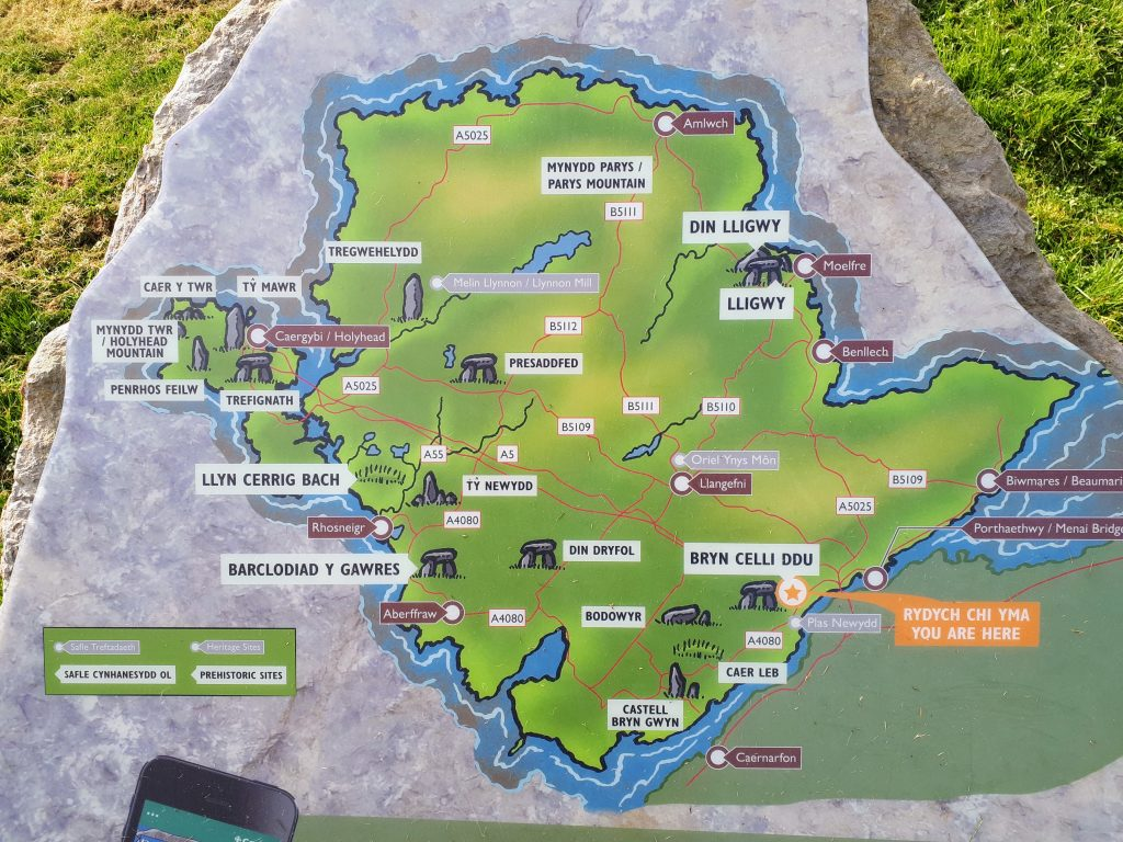 An image of an information board showing free places to visit in Anglesey